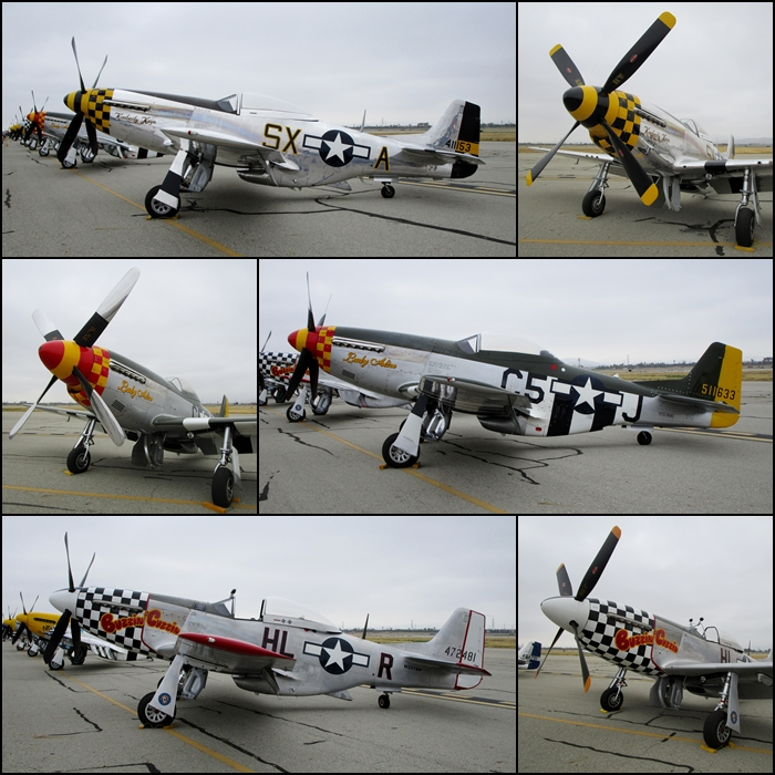 "P-51D's ""Kimberly Kaye"", ""Lady Alice"" & ""Buzzin Cuzzin"" Planes of Fame Airshow 2015"