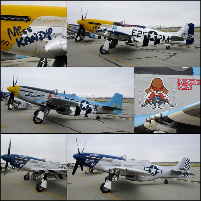 "P-51D's ""Miss Kandy"", ""Six Shooter"" and ""Lady Jo"" Planes Of Fame 2015"