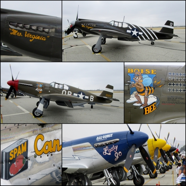 "P-51A ""Mrs. Virginia"", P-51C ""Boise Bee"" and a fantastic row of P-51D Mustangs Planes of Fame airshow 2015"