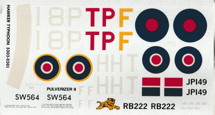 Projet Hawker Typhoon decals