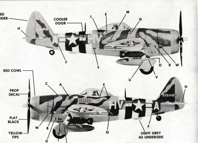 Monogram P-47D 001 fuselage stripes