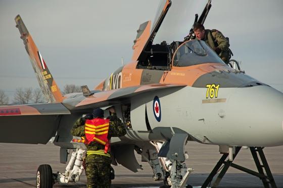 "Captain Denis ""Cheech"" Beaulieu prepares to take the 2015 CF-18 Hornet Demonstration Aircraft up for it's first flight on April 1st, 2015 at 3 Wing Bagotville, Saguenay, Qué.Image: LS Alex Roy, Atelier d'imagerie Bagotville.BN01-2015-0199-001"